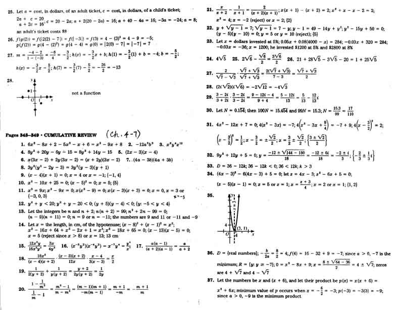 HW 20122013 – Algebra 2 Worksheet Answers