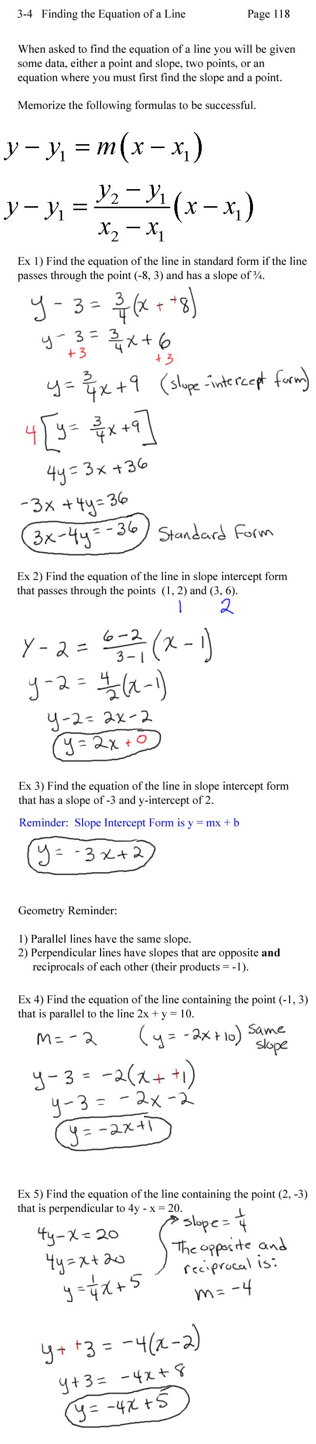 Lecture notes finding an equation of a line falaconquin