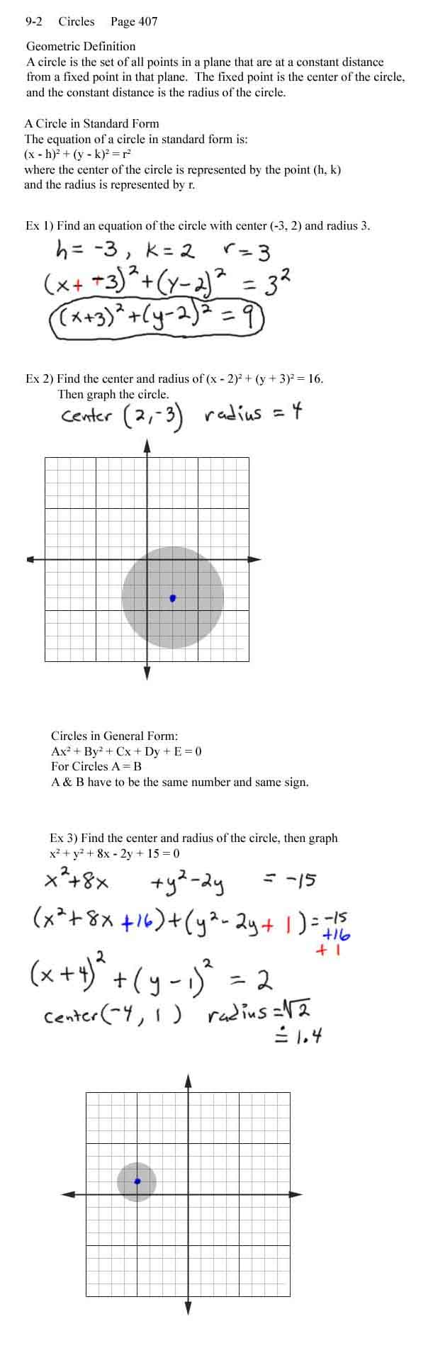 Lecture notes circles standard general form falaconquin